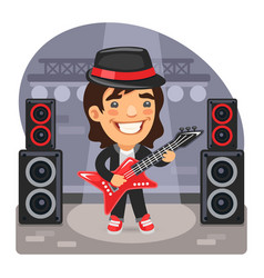 cartoon guitarist on stage vector image
