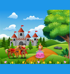 cartoon princesses and princes in the castle page vector image