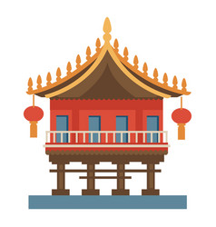 Chinese temple with lanterns traditional vector
