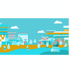 city urban skyline with buildings on blue vector image