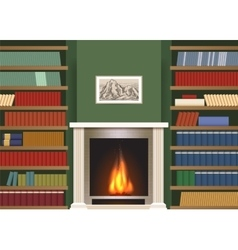 Classic interior with book shelves vector image