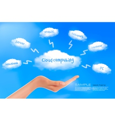 cloud computing background with hand vector image