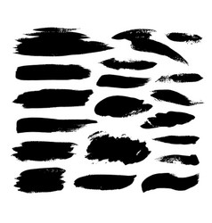 collection black paint ink brush strokes vector image