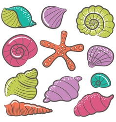 Colorful seashell set vector