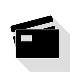 credit card sign black icon with flat style vector image