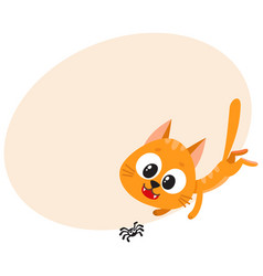 Cute and funny red cat character chasing hunting vector