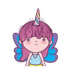 cute little fairy with unicorn horns character vector image