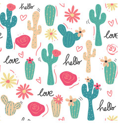 cute tropical cactus hand drawn pattern seamless vector image