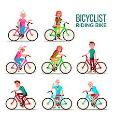 cyclists riding bicycles cartoon characters vector image