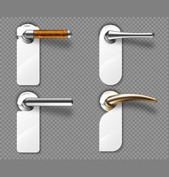 Door hangers on metal and wooden handles set vector
