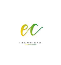 E c ec initial letter handwriting and signature vector