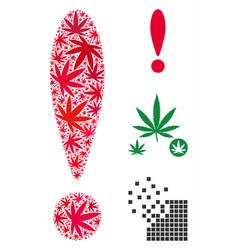 exclamation sign mosaic of marijuana vector image
