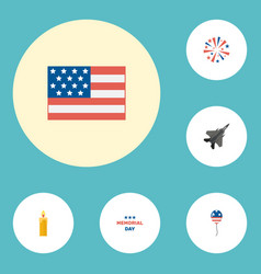 Flat icons fire wax firecracker aircraft and vector