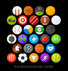 Flat round icon set 1-sport vector