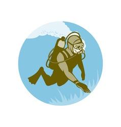 Frogman scuba diver diving vector