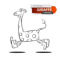funny cute crazy giraffe jump on white vector image