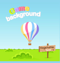 Game background vegetable farm sign board vector