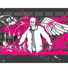 Gangster with grunge background vector
