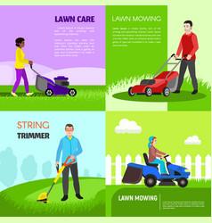 Garden lawnmower banner set flat style vector