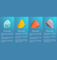gemstones collection poster on vector image