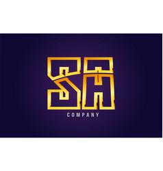gold golden alphabet letter sa s a logo vector image