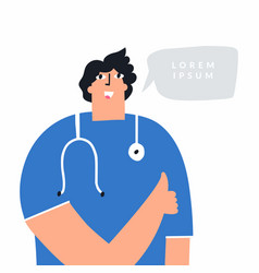 happy male doctor showing thumbs up cheerful vector image