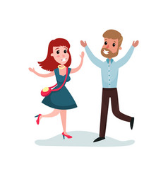 happy man and woman in love run towards each other vector image