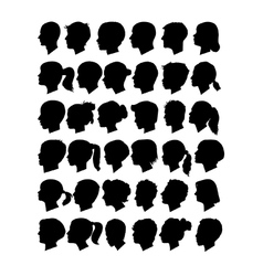 Head profile silhouettes vector