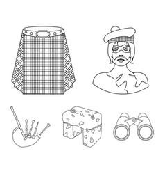 Highlander scottish viking tartan kilt vector