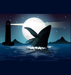 Humpback whale in nature scene silhouette vector