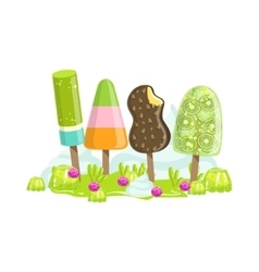 Ice Cream And Frozen Fruit Trees Fantasy Candy vector image