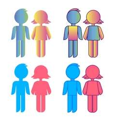 Icon set blue stick figure man male and pink women vector