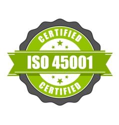 ISO 45001 standard certificate badge vector