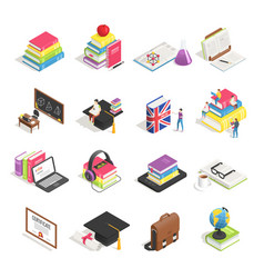 isometric college education icon school vector image