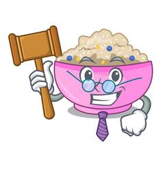 Judge cooked whole porridge oats in cartoon pan vector