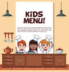 Kids menu poster vector