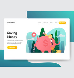 landing page template saving money and piggy vector image