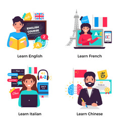 Language training 4 flat compositions vector