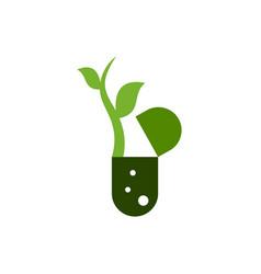 Leaf capsule logo template vector
