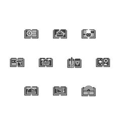 Library black monochrome icons set vector image