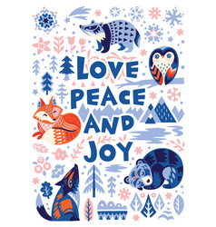 Love peace and joy greeting card woodland vector