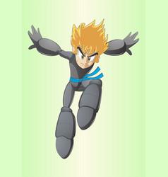 Manga hero jump vector