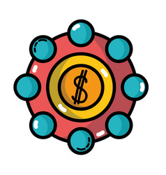 Marketing with coin strategy company symbol vector