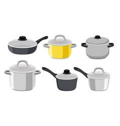 Pans pots and saucepans vector