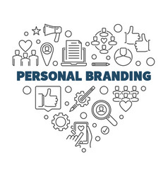 personal branding heart concept thin line vector image