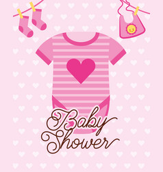 Pink bodysuit clothes baby shower card vector