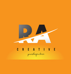 Ra r q letter modern logo design with yellow vector