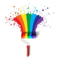 Rainbow roller brush vector
