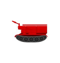 Red firefighting crawler bulldozer emergency vector
