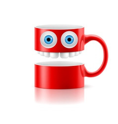 Red mug two parts with two eyes and teeth vector